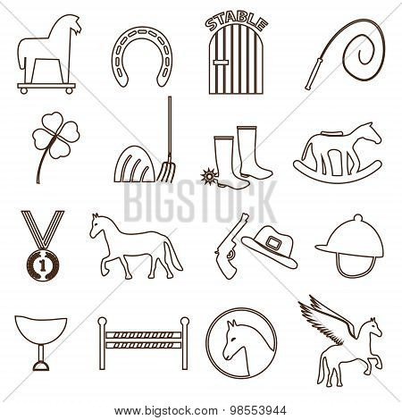 Brown Simple Horse Theme Outline Icons Set Eps10