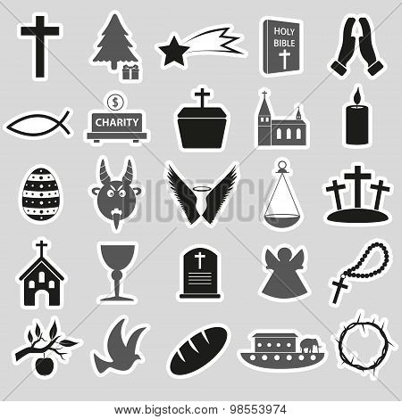Christianity Religion Symbols Vector Set Of Stickers Eps10