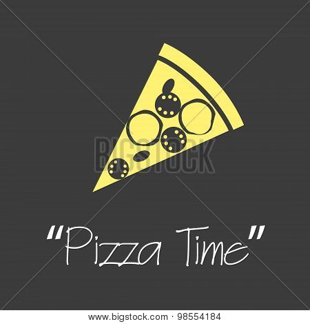 It Is Pizza Time Symbols Simple Banner Eps10