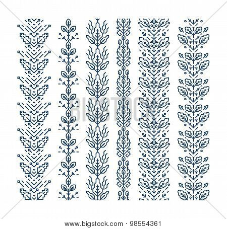 Set Of Seamless Monoline Floral Ornaments
