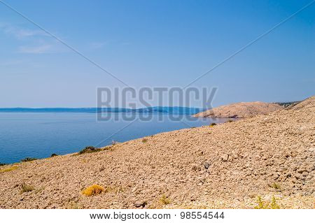 Rocky Deserted Landscape And The Adriatic Sea On The Island Of Krk, Croatia
