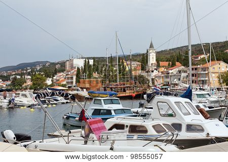 SELCE, CROATIA - JULY 24, 2015: View of Marina Selce and the shoreline