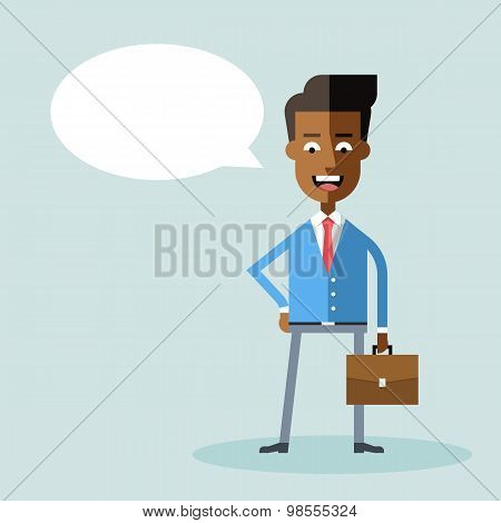 African american businessman with briefcase