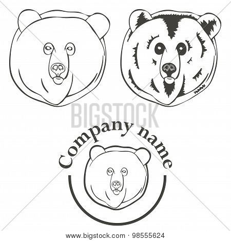 set of logos with the image of a bear