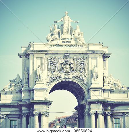 Rua Augusta arch in Lisbon, Portugal. Instagram style filtered image