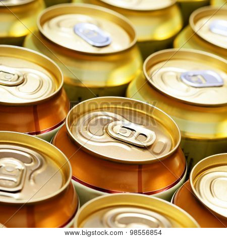 Beer cans close-up. Shallow DOF!
