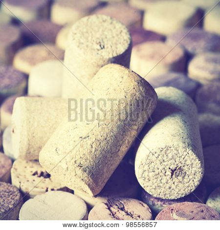 Wine corks close-up. Instagram style filtered image