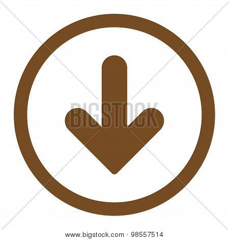 Arrow Down flat brown color rounded raster icon