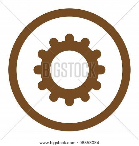 Gear flat brown color rounded raster icon
