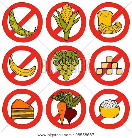 Set of products prohibited during paleo diet in hand drawn cartoon style: corn, cake, rice, carrot,