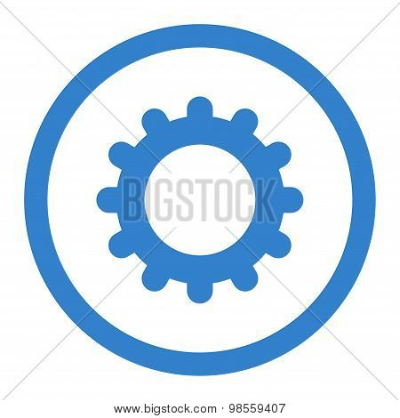 Gear flat cobalt color rounded raster icon