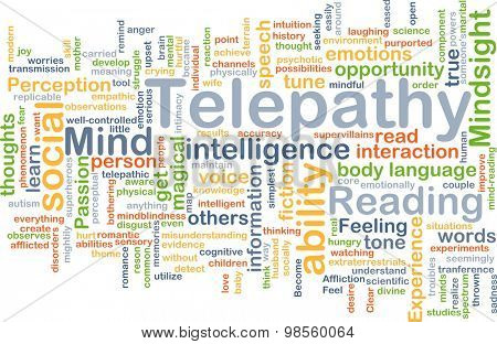 Background concept wordcloud illustration of telepathy