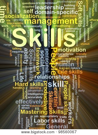 Background concept wordcloud illustration of skills glowing light