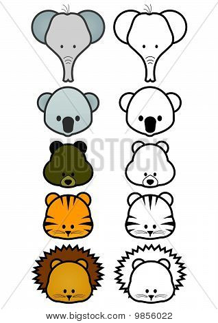 Vector illustration set of cartoon wild or zoo animals.