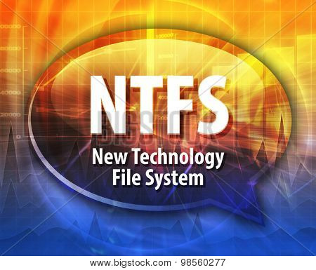 Speech bubble illustration of information technology acronym abbreviation term definition NTFS New Technology File System