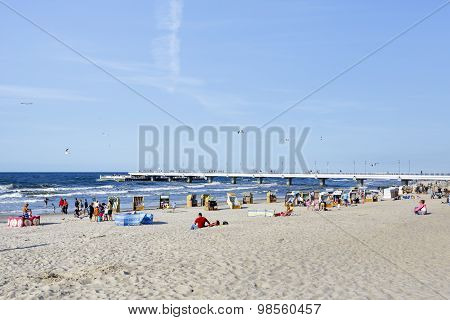 Beach At The Baltic Sea At Summer Day, Kolobrzeg