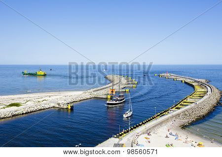 Breakwaters Of The Seaport In Kolobrzeg
