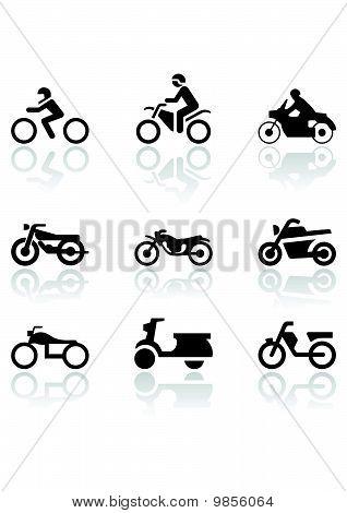 Moto símbolo vector conjunto.