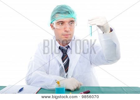 Scientist Man Examine Tube