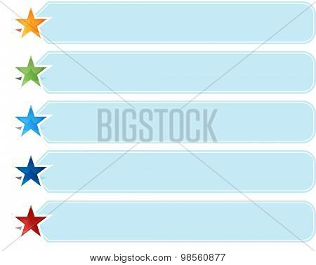 Blank business strategy concept infographic diagram illustration Star List Five