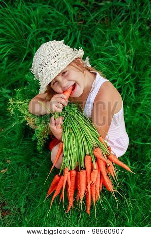 Girl Gnaws Carrot With A Bunch Of Carrots