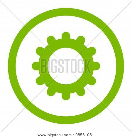 Gear flat eco green color rounded raster icon