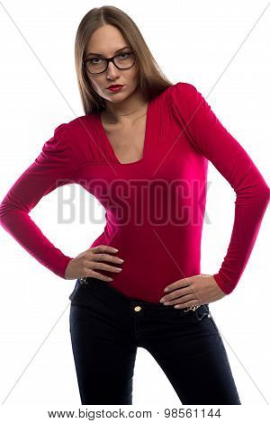 Photo of woman in red leaned aside