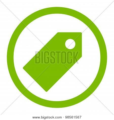 Tag flat eco green color rounded raster icon