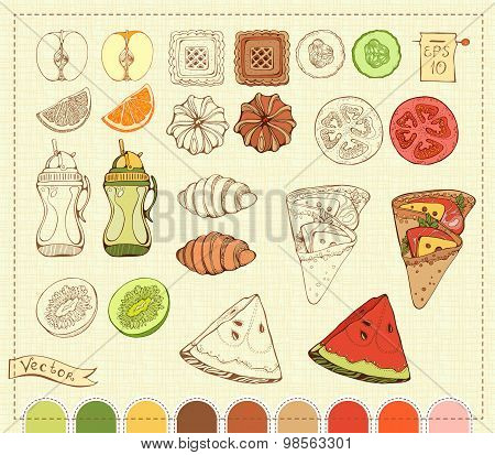 isolated images of various food items