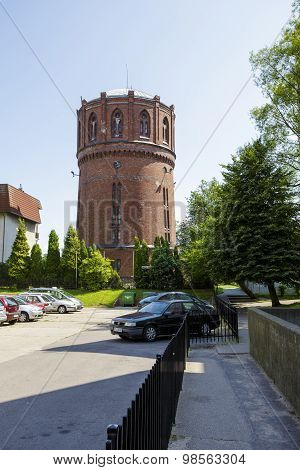 Water Tower Of Red Brick In Kolobrzeg, Poland