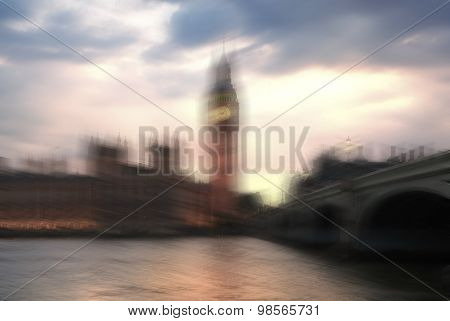 Big Ben and houses of Parliament. Thames embankment Blur