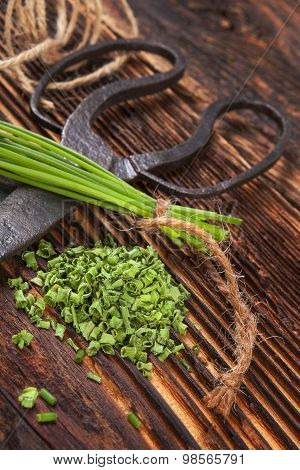 Fresh And Dry Chives Herb.