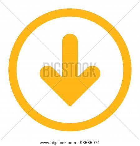 Arrow Down flat yellow color rounded raster icon