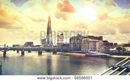Shard of glass and river Thames, London