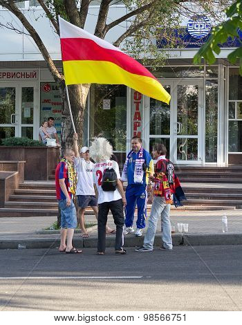 Donetsk, Ukraine - June 11, 2012: Russian Football Fans At The European Championships
