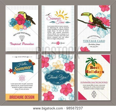 Set of summer hand drawn floral vintage cards with hipster triangular symbols, summer logo and label