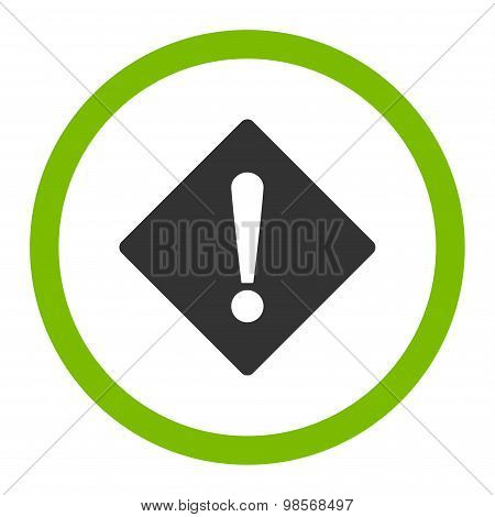 Error flat eco green and gray colors rounded vector icon
