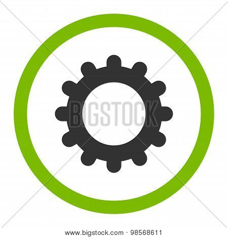 Gear flat eco green and gray colors rounded vector icon