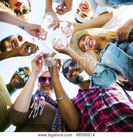 Diverse People Toast Wine Party Concept