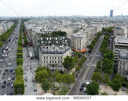 View Of The Champs Elysees With The Arc De Triomphe