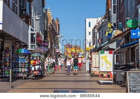 Shopping Street In Zandvoort, Holland