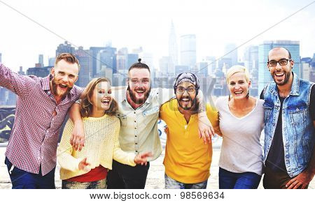 Friends Friendship Huddle Vacations Happiness COncept
