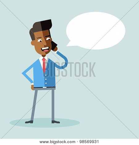 Handsome african american manager talking on phone