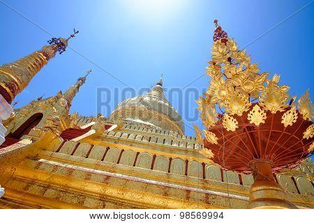 Detail View Of Golden Shwezigon Pagoda In Bagan, Myanmar