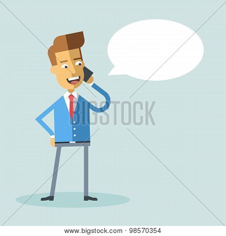 Handsome businessman formal suit talking on phone