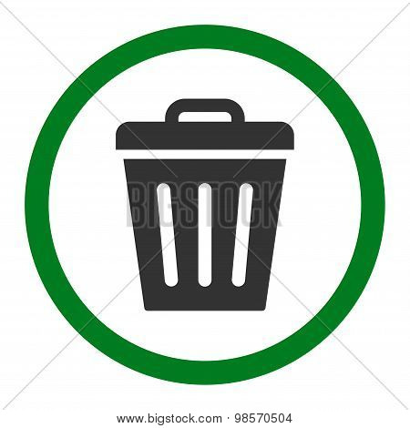 Trash Can flat green and gray colors rounded vector icon