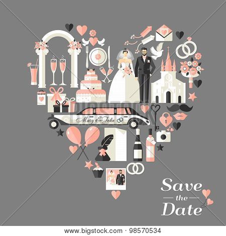 Wedding Card Invitation Of Heart.