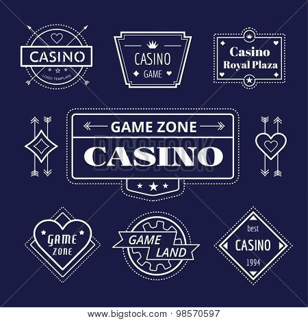 Casino logo icons set. Poker, cards or game and money symbol. Stocks design element.