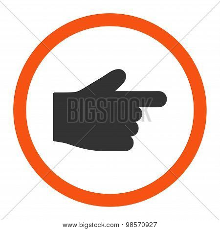 Index Finger flat orange and gray colors rounded vector icon