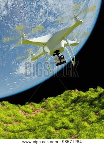 one small drone with a camera on a background of a planet